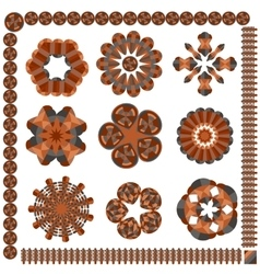 Set of isolated circular patterns vector image
