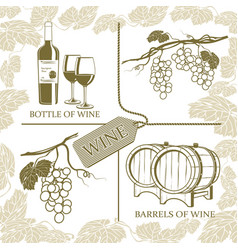 set symbols on theme grapes white wine and vector image