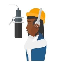 Singer making record vector