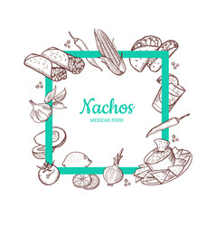 Sketched mexican food elements vector