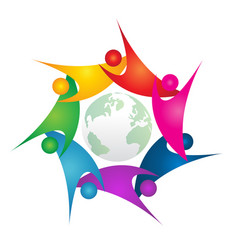 teamwork swoosh people around green world logo vector image