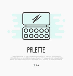thin line icon of palette for make up artist logo vector image