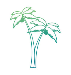trees palms beach icons vector image