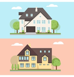 two family houses or cottages vector image