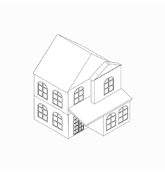 Two-storied detached house icon vector