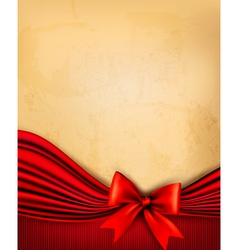 Vintage background with old paper with red gift vector image vector image