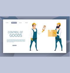 Warehouse male worker control of goods delivery vector