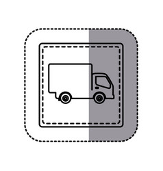 White emblem delivery car icon vector