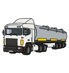 White truck with a steel tank semitrailer vector