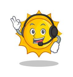 With headphone cute sun character cartoon vector