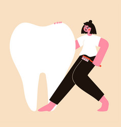 With huge healthy white tooth and happy dancing vector