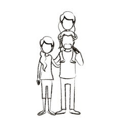 Blurred silhouette caricature faceless family with vector