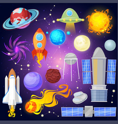 space planets and spaceship in planetary vector image