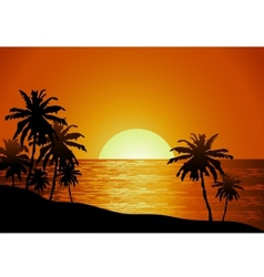 Sunset view in beach with palm tree vector image