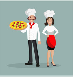 the chef is a man and a woman with pizza vector image vector image