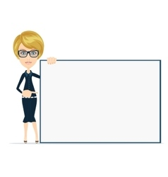 Cartoon businesswoman holding large poster vector image vector image