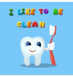 Cute cartoon tooth like cleaning with a brush art vector image vector image