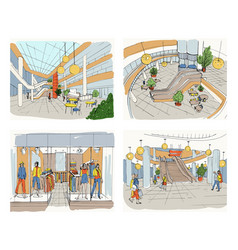 set of modern interior shopping center collection vector image vector image