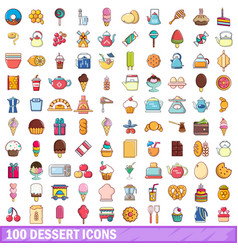 100 dessert icons set cartoon style vector image vector image