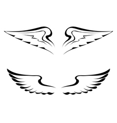 Black tattoo wings on a white background vector image