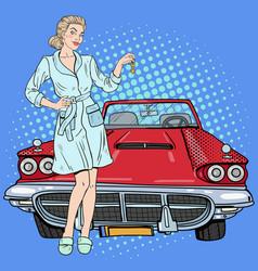 pop art beautiful woman holding car keys vector image