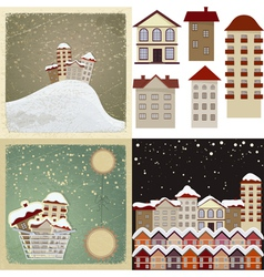 Set of vintage cards with the images of houses vector image vector image