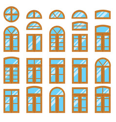 set of vintage wood or wooden window frames view vector image vector image