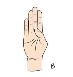 Sign language and the alphabetThe Letter B vector image vector image