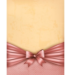 Vintage background with old paper with gift bow vector image vector image