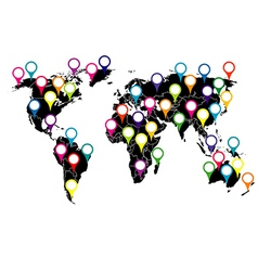 World map with colored pointers vector image vector image