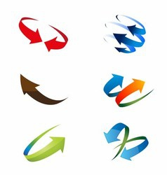 3D Global Arrow Icon Set vector image