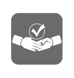 Customer service icon with handshake sign vector