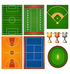 Different sport courts and trophy vector image