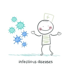 infectious diseases stands next to infection vector image