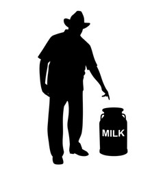 milkman or farmer showing milk can vector image vector image
