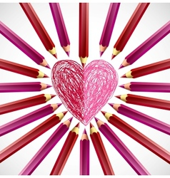 Pencils in the shape of heart vector image