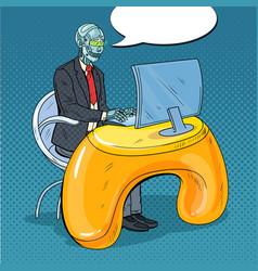 pop art robotic man working with computer vector image