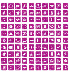 100 charity icons set grunge pink vector