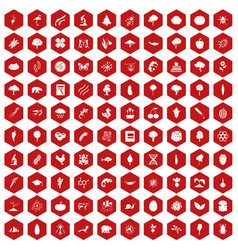 100 microbiology icons hexagon red vector