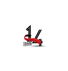 14 years anniversary logotype flat black color vector