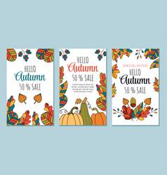 abstract hello autumn boho flyers banners vector image