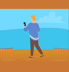 back view man or woman making photo landscape vector image
