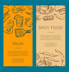Banner or flyer template with mexican food vector