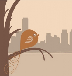 bird and city vector image