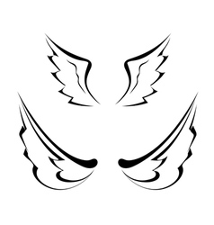 Black tattoo wings isolated on white background vector