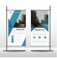 blue triangle business roll up banner flat vector image