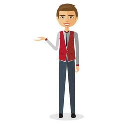 businessman presents something vector image