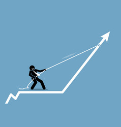 businessman pulling arrow graph chart up with a vector image