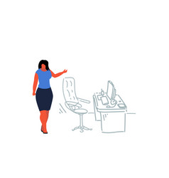 businesswoman pointing modern workplace female vector image