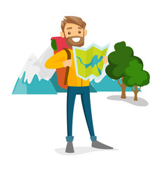Caucasian traveler with backpack looking at map vector